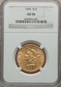 Liberty Eagles: , 1905 $10 AU58 NGC. NGC Census: (104/2039). PCGS Population(135/1150). Mintage: 200,900. Numismedia Wsl. Price for problem ...