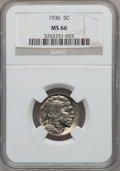 Buffalo Nickels: , 1936 5C MS66 NGC. NGC Census: (1029/93). PCGS Population (1149/97).Mintage: 119,001,424. Numismedia Wsl. Price for problem...