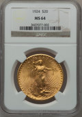 Saint-Gaudens Double Eagles: , 1924 $20 MS64 NGC. NGC Census: (102061/37489). PCGS Population(81825/47970). Mintage: 4,323,500. Numismedia Wsl. Price for...