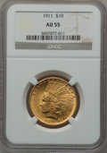 Indian Eagles: , 1911 $10 AU55 NGC. NGC Census: (128/9373). PCGS Population(330/6999). Mintage: 505,595. Numismedia Wsl. Price for problem ...