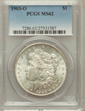 Morgan Dollars: , 1903-O $1 MS62 PCGS. PCGS Population (909/9658). NGC Census:(654/5920). Mintage: 4,450,000. Numismedia Wsl. Price for prob...