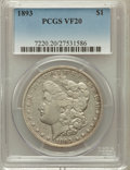 Morgan Dollars: , 1893 $1 VF20 PCGS. PCGS Population (52/5665). NGC Census:(43/3753). Mintage: 389,792. Numismedia Wsl. Price for problemfr...