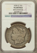 Morgan Dollars, 1878-CC $1 -- Rim Damage -- NGC Details. VG. NGC Census:(53/16558). PCGS Population (53/22817). Mintage: 2,212,0...