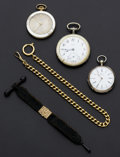 Timepieces:Pocket (post 1900), M. Hansen Christiania Silver Key Wind With Gold Inlay Angel, TwoMother-of-Pearl Cased Swiss Watches, Gold Plate & Cloth Fobs...(Total: 3 Items)