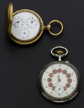 Timepieces:Pocket (pre 1900) , Swiss Double Time Zone & Oversize Watch For Parts Or Repair.... (Total: 2 Items)