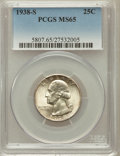 Washington Quarters: , 1938-S 25C MS65 PCGS. PCGS Population (818/409). NGC Census:(459/293). Mintage: 2,832,000. Numismedia Wsl. Price for probl...