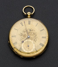 J.W. Benson English 18k Gold Key Wind Pocket Watch