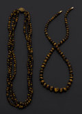 Estate Jewelry:Necklaces, Tiger's Eye Quartz, Silver Necklace. ... (Total: 2 Items)