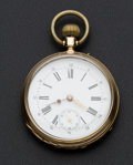 Timepieces:Pocket (post 1900), Swiss 14k Gold Pocket Watch. ...