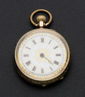 Timepieces:Pocket (post 1900), Swiss 14k Gold Fancy Dial Pocket Watch. ...