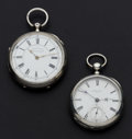 Timepieces:Pocket (pre 1900) , Two Silver 18 Size Key Wind Pocket Watches, Howard Bros.Independent Fredonia & Swiss Center Seconds. ... (Total: 2Items)