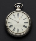 Timepieces:Pocket (pre 1900) , Swiss Verge Fusee Silver Pair Case Pocket Watch. ...