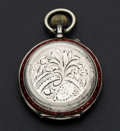Timepieces:Pocket (post 1900), Swiss .800 Silver Case With Red Enamel Pocket Watch. ...