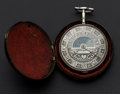 Timepieces:Pocket (pre 1900) , D. Weston Liverpool Day/Night Verge Fusee Hallmarked Silver InnerCase, Outer Later Metal Carry Case. ...