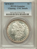 Morgan Dollars, 1878 8TF $1 -- Cleaning -- PCGS Genuine. UNC Details. NGC Census:(107/7132). PCGS Population (110/9269). Mintage: 699...