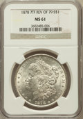 Morgan Dollars: , 1878 7TF $1 Reverse of 1879 MS61 NGC. NGC Census: (318/3835). PCGSPopulation (212/4498). Mintage: 4,300,000. Numismedia Ws...