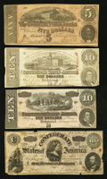 Confederate Notes:Group Lots, A Group of Four Confederate Notes.. ... (Total: 4 notes)