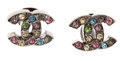 Luxury Accessories:Accessories, Chanel Colorful Rhinestone Gunmetal CC Earrings. ...