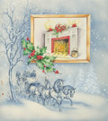 Mainstream Illustration, AMERICAN ARTIST (20th Century). Winter Christmas Scene, TheNorcross Greeting Card Collection. Pen and watercolor on boa...
