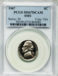 SMS Jefferson Nickels: , 1967 5C SMS MS67 Deep Cameo PCGS. PCGS Population (32/1). . From The GeoHan II PCGS Registry Sets....