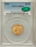 Indian Quarter Eagles: , 1926 $2 1/2 MS64 PCGS. CAC. PCGS Population (2585/710). NGC Census:(3501/619). Mintage: 446,000. Numismedia Wsl. Price for...