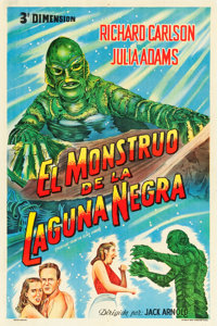 """Creature from the Black Lagoon (Universal International, 1954). Argentinean Poster (29"""" X 43"""") 3-D Style"""