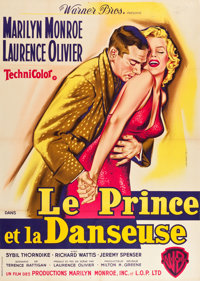 """The Prince and the Showgirl (Warner Brothers, 1959). French Grande (45"""" X 63"""") Jean Mascii Art"""