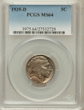 Buffalo Nickels: , 1935-D 5C MS64 PCGS. PCGS Population (1115/591). NGC Census:(614/316). Mintage: 12,092,000. Numismedia Wsl. Price for prob...