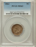 Indian Cents: , 1863 1C MS63 PCGS. PCGS Population (774/1058). NGC Census:(482/842). Mintage: 49,840,000. Numismedia Wsl. Price for proble...