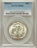 Walking Liberty Half Dollars: , 1942-D 50C MS64 PCGS. PCGS Population (2091/4047). NGC Census:(990/2556). Mintage: 10,973,800. Numismedia Wsl. Price for p...