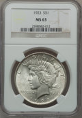 Peace Dollars, (2)1923 $1 MS63 NGC. ... (Total: 2 coins)