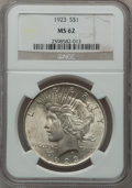 Peace Dollars, (2)1923 $1 MS62 NGC. ... (Total: 2 coins)
