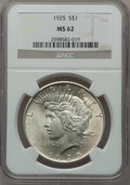 Peace Dollars, (2)1925 $1 MS62 NGC. ... (Total: 2 coins)