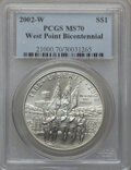 Modern Issues: , 2002-W $1 West Point Silver Dollar MS70 PCGS. PCGS Population(1012). NGC Census: (2395). Numismedia Wsl. Price for proble...