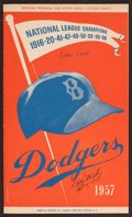 Baseball Collectibles:Tickets, 1957 Brooklyn Dodgers Final Game (In Brooklyn) Program and TicketStub - Signed by Winning Pitcher Danny McDevitt....
