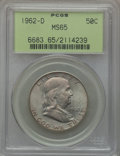 Franklin Half Dollars: , 1962-D 50C MS65 PCGS. PCGS Population (427/7). NGC Census: (964/8).Mintage: 35,473,280. Numismedia Wsl. Price for problem ...