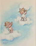 Mainstream Illustration, MARJORIE COOPER (American, 20th Century). Angels Floating onClouds, The Norcross Greeting Card Collection. Pastel and w...