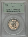 Washington Quarters: , 1932 25C MS64 PCGS. PCGS Population (1055/705). NGC Census:(569/438). Mintage: 5,404,000. Numismedia Wsl. Price for proble...