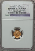 Errors, 1853 G$1 Liberty Head--Obverse Die Break,Removed From Jewelry--NGCDetails. AU....