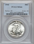Walking Liberty Half Dollars: , 1941 50C MS66 PCGS. PCGS Population (2691/519). NGC Census:(2318/551). Mintage: 24,207,412. Numismedia Wsl. Price for prob...