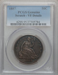 Seated Half Dollars, 1857 50C -- Scratch -- PCGS Genuine. VF Details. NGC Census:(2/182). PCGS Population (2/204). Mintage: 1,988,000. Numismed...