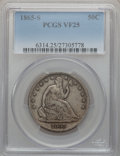 Seated Half Dollars: , 1865-S 50C VF25 PCGS. PCGS Population (7/77). NGC Census: (0/55).Mintage: 675,000. Numismedia Wsl. Price for problem free ...