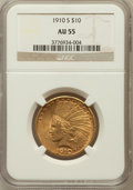 Indian Eagles: , 1910-S $10 AU55 NGC. NGC Census: (195/1129). PCGS Population(270/1075). Mintage: 811,000. Numismedia Wsl. Price for proble...