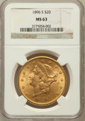 Liberty Double Eagles: , 1896-S $20 MS63 NGC. NGC Census: (779/123). PCGS Population(1022/156). Mintage: 1,403,925. Numismedia Wsl. Price for probl...
