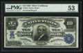 Large Size:Silver Certificates, Fr. 304 $10 1908 Silver Certificate PMG About Uncirculated 53.. ...