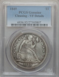Seated Dollars, 1849 $1 -- Cleaning -- PCGS Genuine. VF Details. NGC Census:(0/255). PCGS Population (4/341). Mintage: 62,600. Numismedia ...