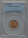 Lincoln Cents: , 1909 VDB 1C MS64 Red PCGS. PCGS Population (5115/7434). NGC Census:(2829/4762). Mintage: 27,995,000. Numismedia Wsl. Price...