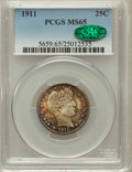 Barber Quarters, 1911 25C MS65 PCGS. CAC....