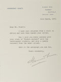 Autographs:Authors, Hammond Innes, British Novelist. Typed Letter Signed. Two horizontal creases. Near fine....
