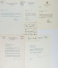 Autographs:Statesmen, [Congressional Signatures]. Lynn Martin, Paul Douglas, and EdwardDerwinski. Group of Six. Christmas card is printed and one...